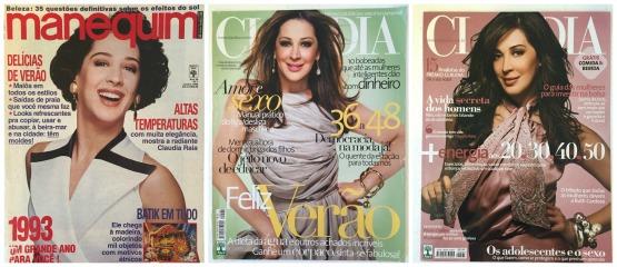Algumas das capas que fez com Claudia Raia