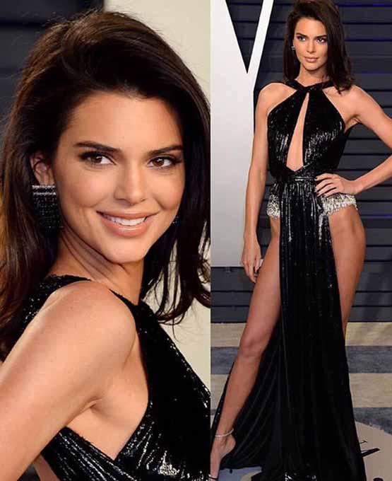 Kendall Jenner usa decote profundo e gloss labial de volume no Oscar 2019